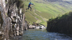 Team building canyoning events Esk Lake District